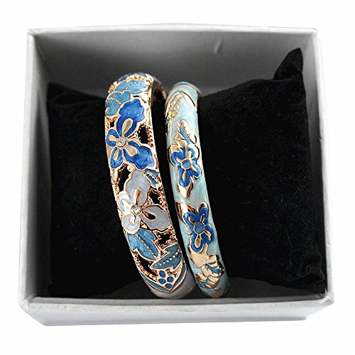 celet Jewelry Butterfly Floral Multi-color Enamel Cloisonne Bangles Gift 88A09-55A102 sky blue ()
