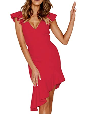 c6492f7421 Longwu Women s Sexy V Neck Irregular Sleeveless Bodycon Party Club Ruffle Midi  Dress Red-S