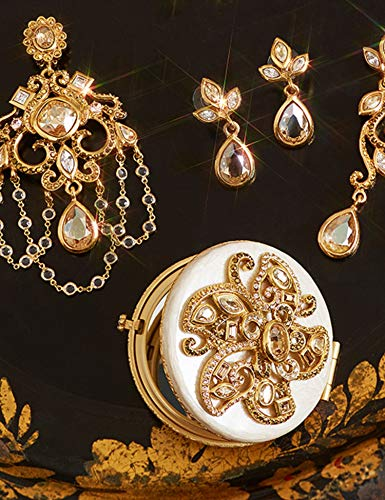 Jay Strongwater Elizabeth Golden Flower Jeweled Compact Make up Mirror with Swarovski Crystals ()