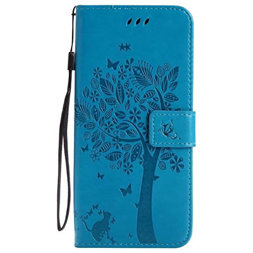 Samsung Galaxy S8 Plus Wallet Case,A-slim(TM)Cat Tree Butterfly Design Embossed Stand Function Wallet Flip Leather Mobile Phone Case for Galaxy S8 Plus(Blue) (Slimcat Cat)