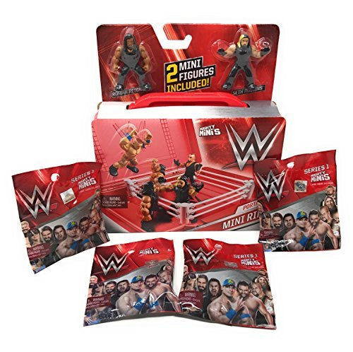 (WWE Mighty Minis Portable Mini Ring Includes (2) Mini Figures Plus (4) Series 1 Mighty Minis Action Figure Blind Bags Bundle)