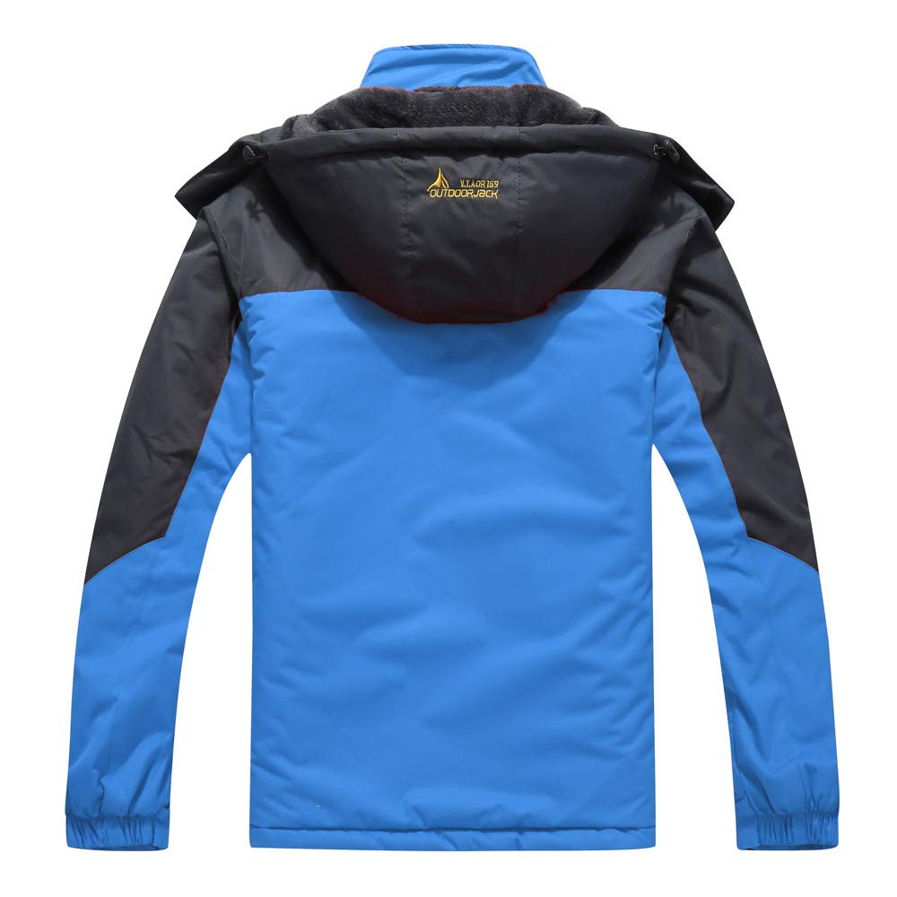 Men's Autumn Winter Assault Clothing Thickened Fluffy Hooded Waterproof Casual Sports Coat Blue by CHLZYD