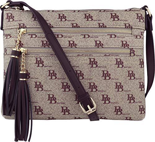 B BRENTANO Vegan Multi-Zipper Crossbody Handbag Purse with Tassel Accents (BB Brown) ()