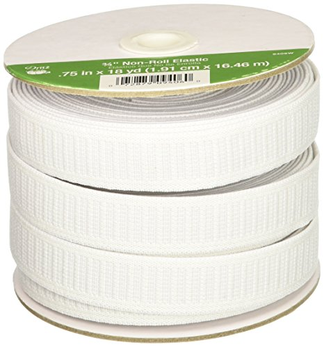 Dritz Elastic (Dritz 9406W Non-Roll Woven Elastic, White, 3/4-Inch by 18-Yard)