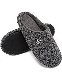 Women's House Slippers Indoor Memory Foam Cashmere Cotton-Blend Knitted Autumn Winter Anti-Slip