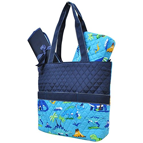 Friendly Dinosaur Print NGIL Quilted 3pc Diaper Bag