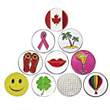 PINMEI Golf Ball Markers Fit for Any Hat Clip and Divot Tool Assorted Patterns, Soft Enamel Technique, Dia 24.4MM