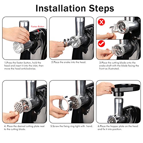 Meat Grinder Electric Stainless Steel Sausage Maker, Meat Mincer Sausage Stuffer with Grinding Plates for Home Use(Black) by Excelvan (Image #5)