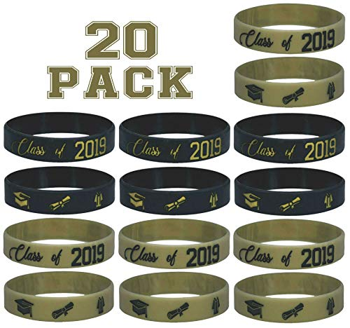 20 pc Class of 2019 Wristband Party Favors (Gold-Black Wristband) (Best Health Wristbands 2019)