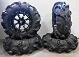 Bundle - 9 Items: STI HD4 14'' Wheels Black 30'' Monster Mayhem Tires [4x137 Bolt Pattern 12mmx1.25 Lug Kit]