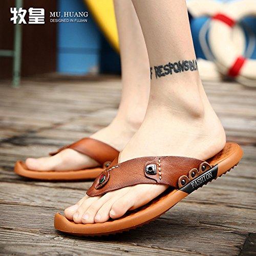 Xing Lin Sandalias De Hombre Verano Sandalias De Hombres, Cuero, Cuero, Calzado Casual Y Joven Hombre De Flip Flops Light brown