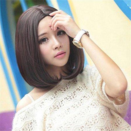 Futuretrend Girls' Point Bangs 35cm Short BOBO Dark Brown Hair Wigs (Brown Braided Wig)