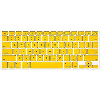 Keyboard Cover Silicone Skin Compatible MacBook Pro 13 Inch, 15 Inch (with or Without Retina Display, 2015 or Older Version) MacBook Air 13 Inch (Yellow)