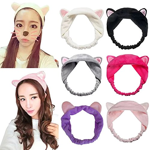 DRESHOW 6 Pack Women 6pcs Cute Cat Ear Hair Band For Women Wash Face Makeup Running Sport -