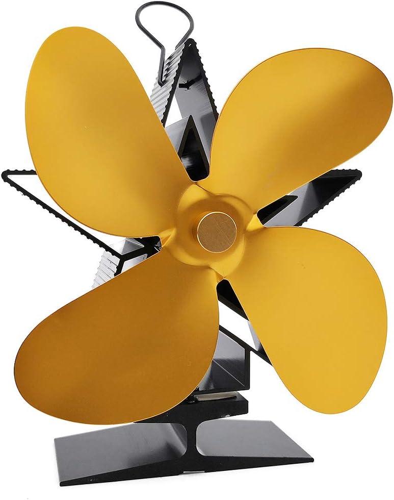 ONGLOLH Ventilador De Chimenea De LeñA Hogar Eficiente Calor Quemador De Madera Mini Ventilador De Estufa Eficiente Arranque Silencioso,Silver-15 * 9 * 18cm
