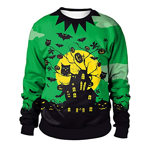 kaifongfu Men's Halloween Top,Long Sleeve Men 7D Print Crew Sweater Blouse (Green,XL)