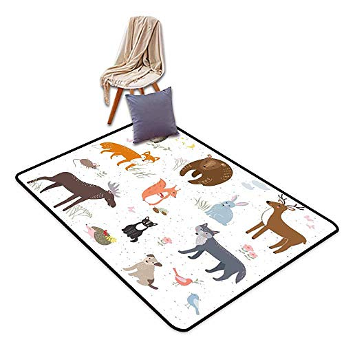 Room Bedroom Floor Rug Cabin Decor Cute Animals in Spring Meadow Childish Woodland Fauna Kids Baby Room Nursery Personality W63 xL90.5 Multicolor