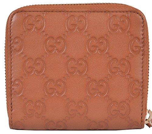 2e58055ef04 Gucci Women s Saffron Tan Leather GG Guccissima French Zip Wallet W Coin