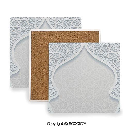 (Ceramic Coaster With Cork Mat on the back side, Tabletop Protection for Any Table Type, Square coaster,Traditional House Decor,Arabesque Arched Royal Persian,3.9