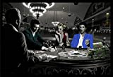 FRAMED Royal Flush with James Dean Marilyn Monroe Elvis Presley and Humphrey Bogart by Chris Consani 36x24 Art Print Poster Wall Decor Celebrity Movie Stars Playing Poker in Casino Icons Hollywood