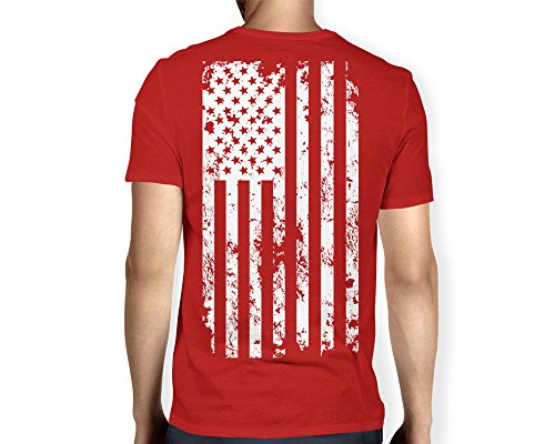 Mens White American V neck T shirt