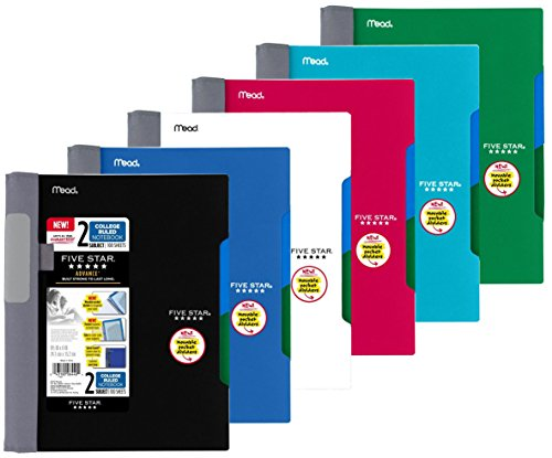 Mead Five Star Notebooks - Five Star Advance Spiral Notebook-Medium Size, 2 Subject, College Ruled, 9.5 x 6 Inch, Assorted Colors, 6 Pack
