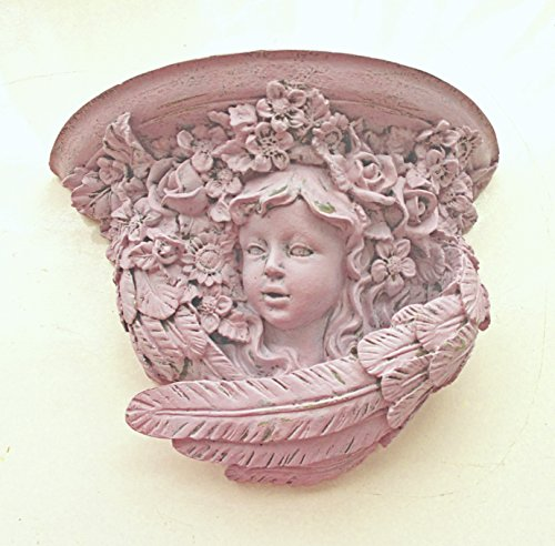 Wall Shelf, Cherub Shelf, Shabby Chic Pink, Distressed, Wall Decor, Cherubs and Angels, Nursery Kids Girls Room Decor Over Crib Decor, Cottage, Storage, Organization, Floating Shelves