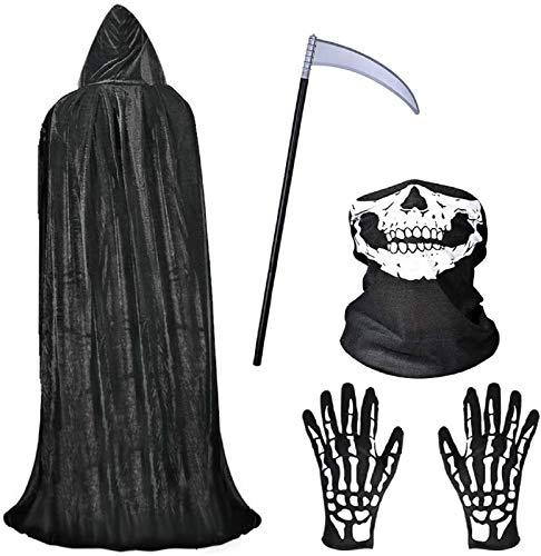 Faburo Halloween Hooded Cloak Black Velvet Cloak Halloween Costumes + Scythe+Skull Mask+Skeleton Gloves Grim Reaper Vampire Party Costumes