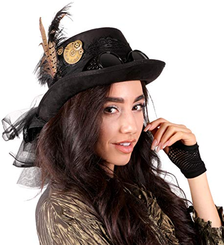"""Narwhal Novelties Deluxe Halloween Costume Hat; Black, Velvet 4.5"""" Steampunk Hat with Removable Steampunk Goggles Attached Feather, Gears"""