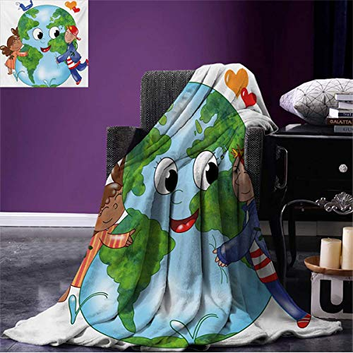 - Anniutwo Earth Throw Blanket Two Cute Kids Hugging Happy Planet Earth Bird and Hearts Embracing in Cartoon Style Soft Multicolor W60 x L50 inch