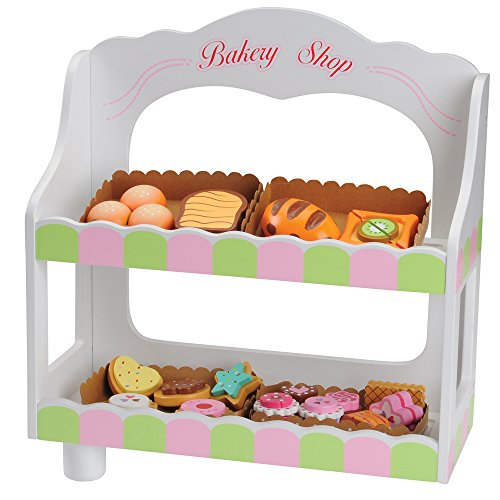 CP Toys 23 pc. Wooden Bakery Set with 2 Tiered Stand for Pre