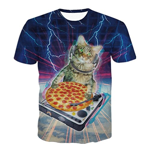 Mens Lightning Cat Pizza Shirt Tee