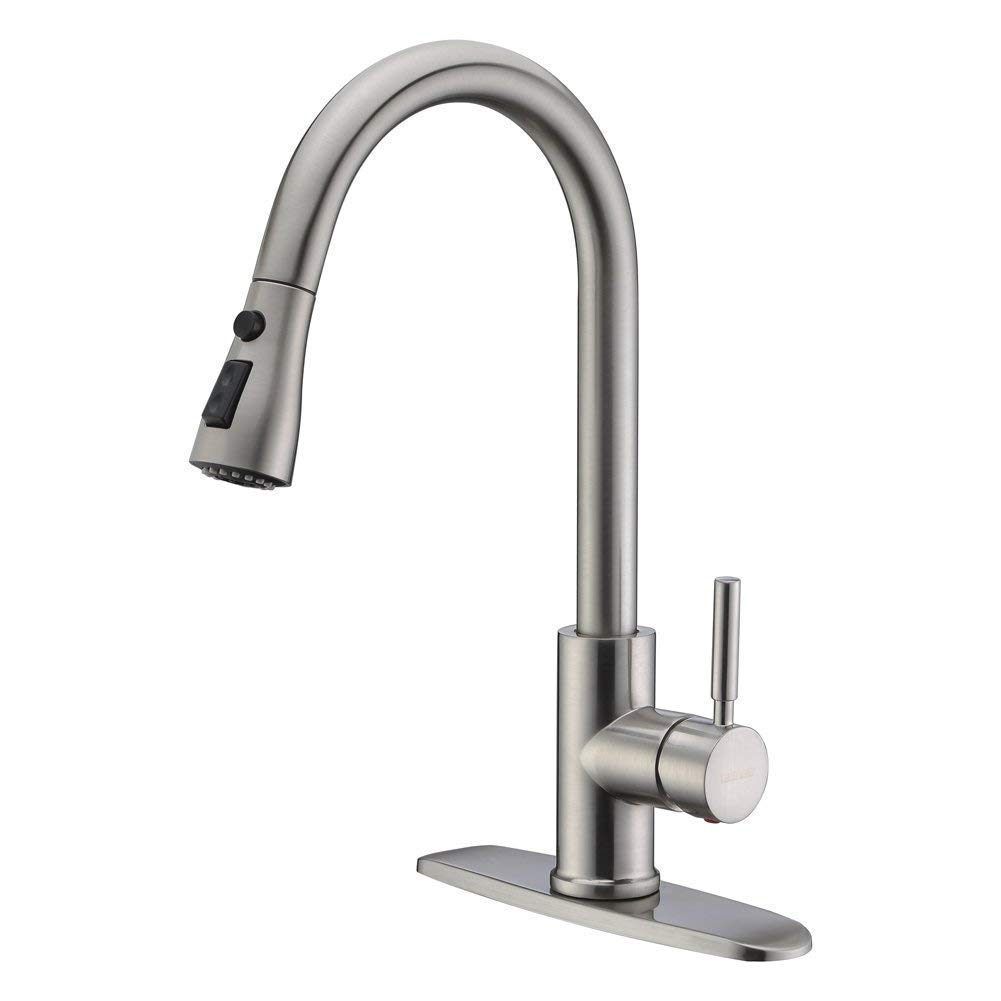 WEWE Single Handle High Arc Brushed Nickel color Stainless Steel Kitchen Sink Pull out Faucet