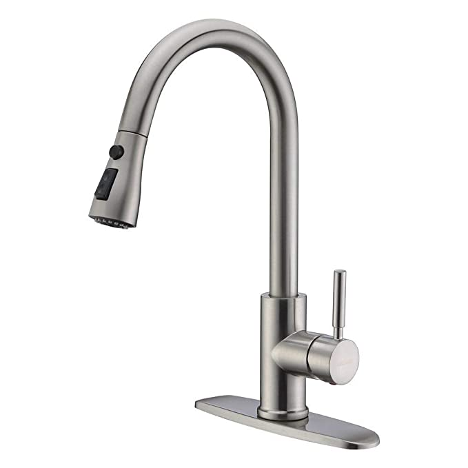 Best Pull Down Kitchen Faucet: WEWE Single Handle High Arc Kitchen Faucet