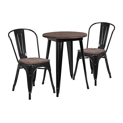 Amazon.com: Flash Furniture - Juego de mesa redonda de metal ...