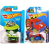 Hot Wheels Super Mario Cool One HW Screen Time & Jetsons #57 Tooned car set by Hot Wheels