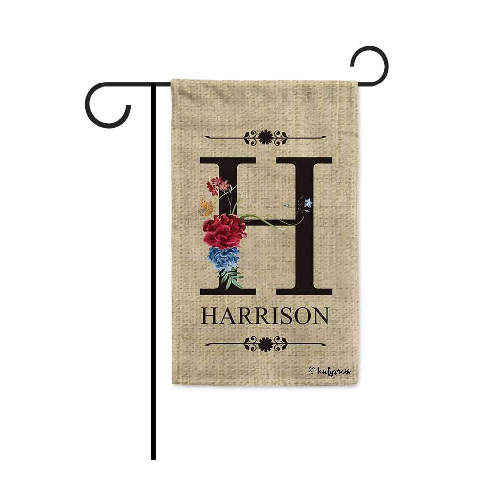 KafePross Welcome Spring Summer Flowers Monogram H Decorative Garden Flag Customized Your Last Name and Initial Letter Home Decor Banner for Outside 12.5X18 Inch Print Double Sided