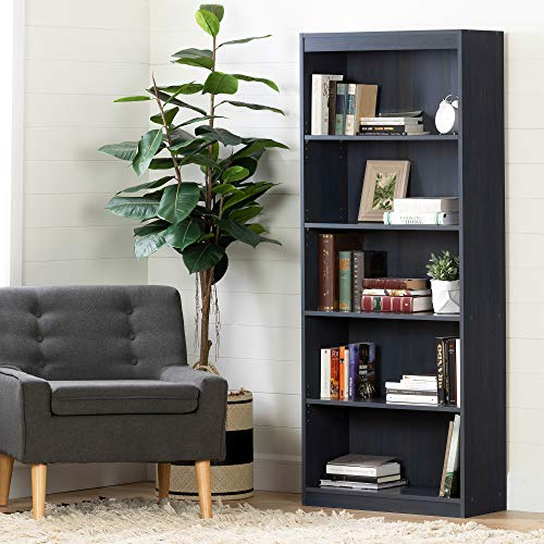 South Shore Axess 5-Shelf Bookcase, Blueberry (Navy Blue Bookshelf)