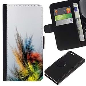 Apple (4.7 inches!!!) iPhone 6 Modelo colorido cuero carpeta tirón caso cubierta piel Holster Funda protección - Crayon Drawing Colors Bird