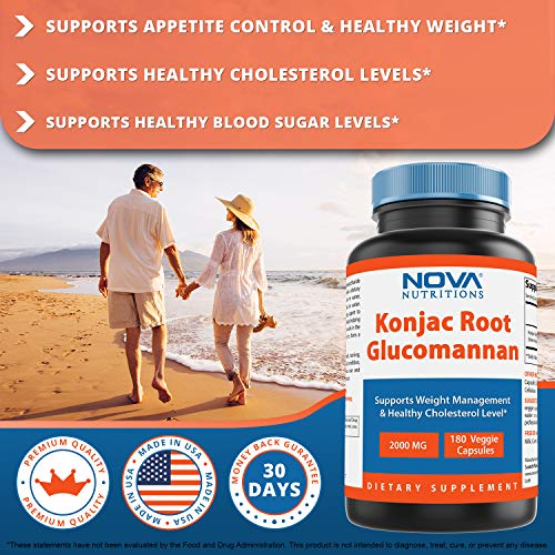 Nova Nutritions Konjac Root Glucomannan Capsules 2000 mg/Serving Veggie Caps – Promotes Regularity, Digestive Health…