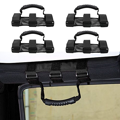 Santu Roll Bar Grab Handle Set(Pack of 4),Jeep Wrangler Grab Bar,Easy-to-fit for 1955-2017 Models JK JKU CJ CJ5 CJ7 YJ TJ Sport X Sahara Unlimited Rubicon