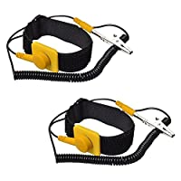 Calunce Velcro ESD/ Antistatic Wrist Strap With 2.5M PU Adjustable Grounding wire(2 pcs)