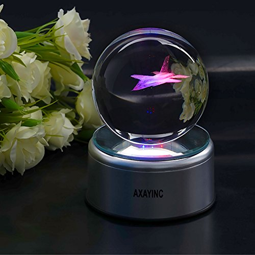 3D Crystal Ball Fancy LED Lighting with Rotating Base, Advanced Laser Engraving, Ideal Present for Kids, Friends, Perfect for Home, Offices, Bars Decor etc. - 80mm, Fighter by AXAYINC