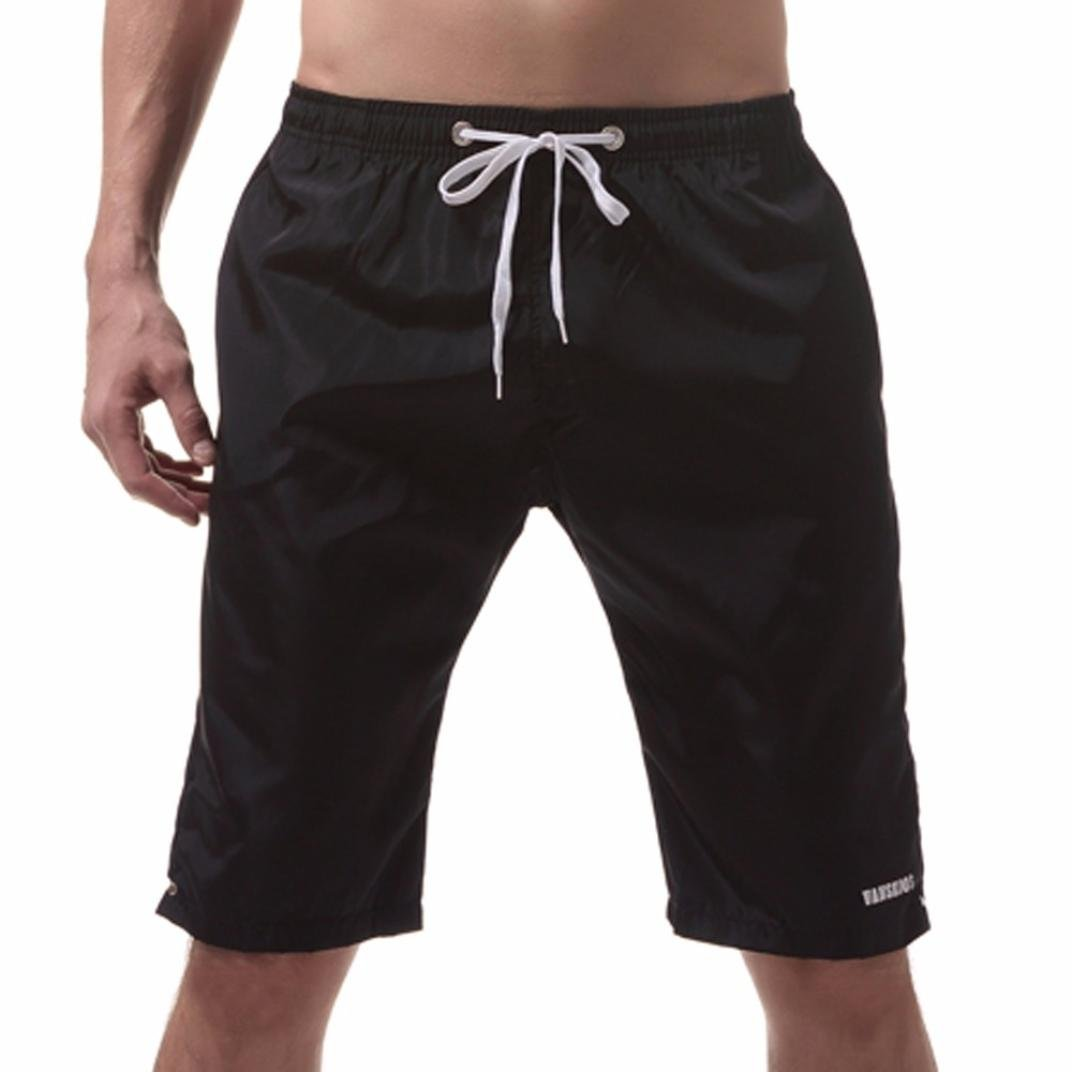 54ca94ecdc Perman Men Shorts, Summer Beach Quick Dry Swim Trunks Solid Knee-Length  with 2 Pocket for Surfing Running Swimming Boxing | Amazon.com