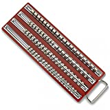 GHP 20-Pcs Steel Clips & Socket Rack Tray for 1/4'' 3/8'' 1/2'' Sockets with Handle