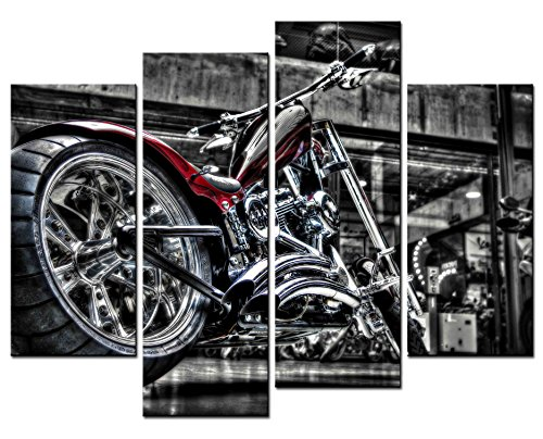 SmartWallArt - Vehicle Paintings Wall Art Black and Bright Motorcycle 4 Panel Picture Print on Canvas for Modern Home Decoration