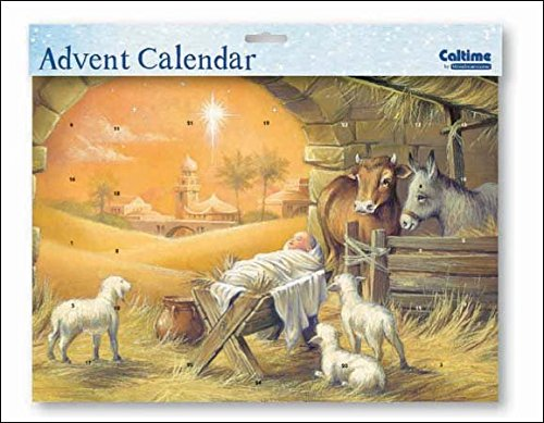 Landscape Advent Calendar (WDM0401) Caltime - Jesus In A Manger - Glitter Varnished Woodmansterne