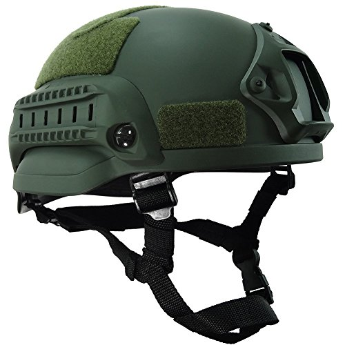 H World Shopping MICH 2002 Combat Protective Helmet with Side Rail & NVG Mount OD Green for Airsoft Tactical Military Paintball Hunting by H World Shopping