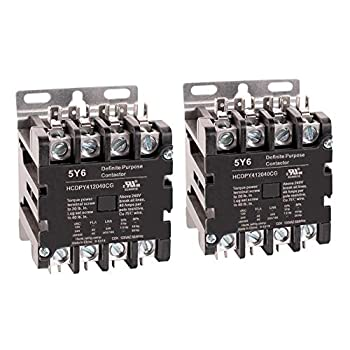 Image of Motor Contactors 5Y6 40 Amp 4 Pole Normally Open NEMA 600V HVAC Definite Purpose Contactor – 110-120VAC Coil, Inductive 40A, Resistive 50A (Pack of 2)
