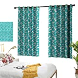 """Superlucky Decorative Curtains for Living Room,Turquoise,55"""" x 45"""",Foliage Pattern with Exotic Leaves Tropical"""